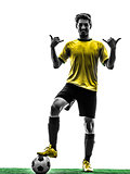 brazilian soccer football player young man saluting  silhouette