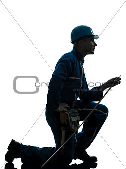 man construction worker silhouette
