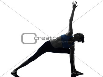 woman exercising stretching triangle pose yoga