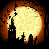 halloween churchyard, bats and skulls on the moon