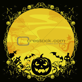 halloween card with pumpkin and bats