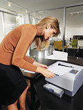 woman next to printer l
