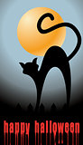 halloween background with full orange moon and black cat