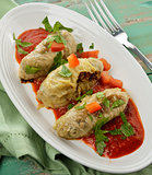 Stuffed Cabbage With Tomato Sauce