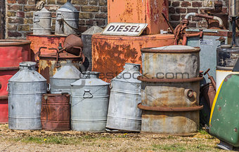 Oil barrels and gas pump