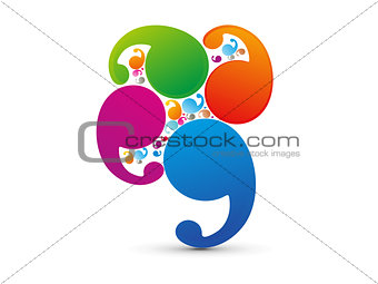 abstract colorful callout shape