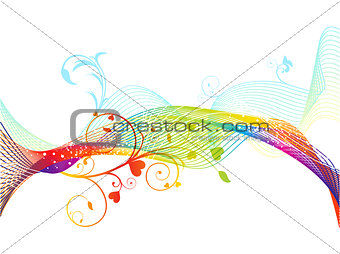 abstract colorful rainbow floral wave background