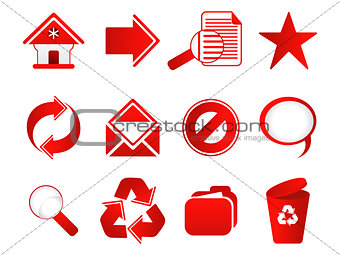 abstract multiple red web icon set