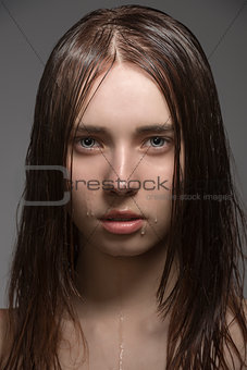 portrait of caucasian wet woman