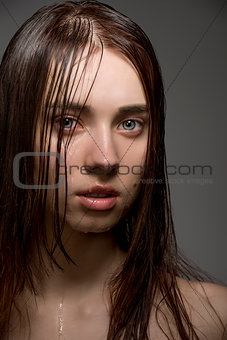 wet sexy woman in close-up portrait