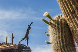 Cactus and statue