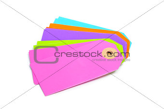 blank paper labels of different colors