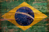 Brazil flag painted on wood aces