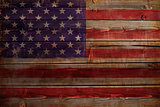 United States of America flag painted on wood aces