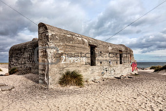 World war two bunker on Grenen in Skagen
