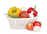 Fresh vegetables and mushrooms in basket