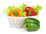 Colorful bell peppers with lettuce in basket