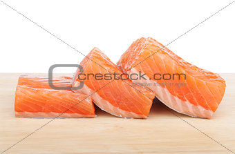 Three pieces of salmon