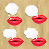 Red Lips Set With Speech Bubbles
