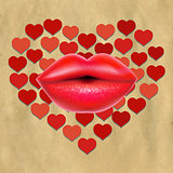 Red Lips With Hearts And Paper