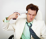 Tattered businessman in white suit with gun