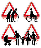 collection of handicap signs