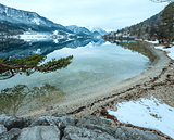 Alpine winter lake view