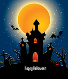 halloween background with full orange moon