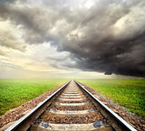 Railway and storm clouds