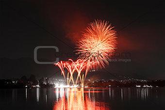 Fireworks on Monate Lake, Varese - Italy