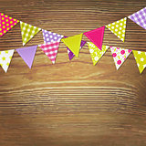 Bunting Flags With Wood Background