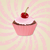 Cupcake With Cream And Cherry And Vintage Sunburst