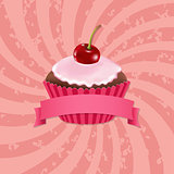 Cupcake With Cream Cherry And Sunburst