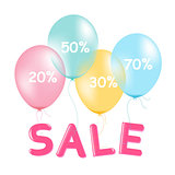 Sale Poster With Pastel Balloons