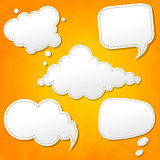 Speech Bubbles Set And Orange Background