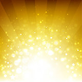 Golden Background With Sunburst And Stars