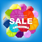 Sale Poster With Color Umbrellas