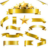 Set Gold Ribbons And Stars
