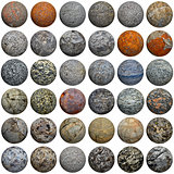 Set of 3D stone balls on white - seamless texture