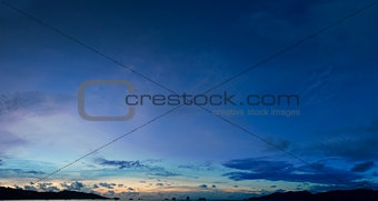 Sky above the tropical sea harbor - panorama