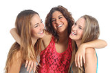 Group of three girls hugging happy