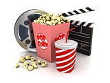 3d cinema objects on white