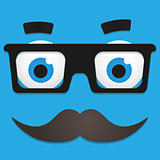 Vector Hipster Avatar with Geek Glasses And Mustache