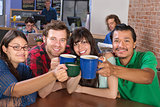 Joyful Group Holding Mugs