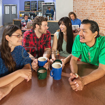 Four Happy People Talking