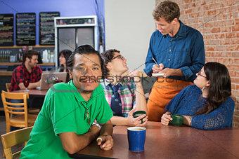 Smiling Man in Cafe