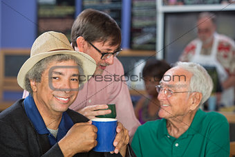 Handsome Mature Men in Bistro