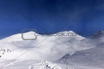 Ski slope in nice day