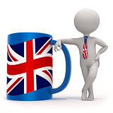 Cup with Great Britain flag and small character wearing tie