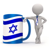 Cup with Israel flag and small character wearing tie